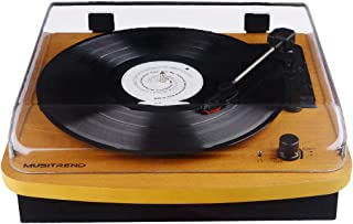 Record Player 3-Speed Vintage Vinyl Turntable with MP3 Recording - Natrual Wood