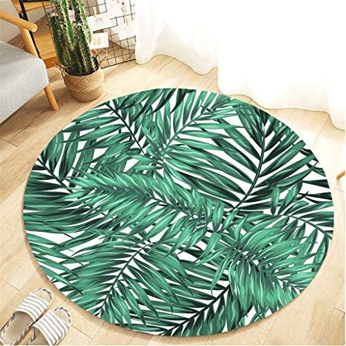 Scrolor Runder Teppich für Wohnzimmer Boden Langlebige Matte Sofa Stuhl Bereich Dekoration Kissen Decke Schlafzimmer Teppich Floral Tropische Pflanzen Muster