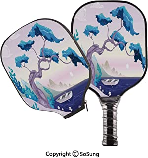 3D Print Graphite Pickleball Paddle Set,Fantastic Landscape Bonsai Tree Sea Water Lilies Daisies and Boat Pop Carbon Fiber Large Lightweight Top Professional Power Outdoor Rackets for Mens Women Kids