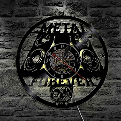 ZZLLL Heavy Metal Music Forever Reloj de Pared Rock n Roll Music Studio Disco de Vinilo Reloj de Pared Reloj de Pared Reloj Metal Music Lover Gift
