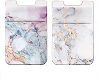 Obbii 2Pack Phone Card Holder Stretchy Lycra Wallet Pocket Credit Card ID Case Pouch Sleeve 3M Adhesive Sticker on iPhone Samsung Galaxy Android Smartphones (Pink Marble & White Golden Marble)