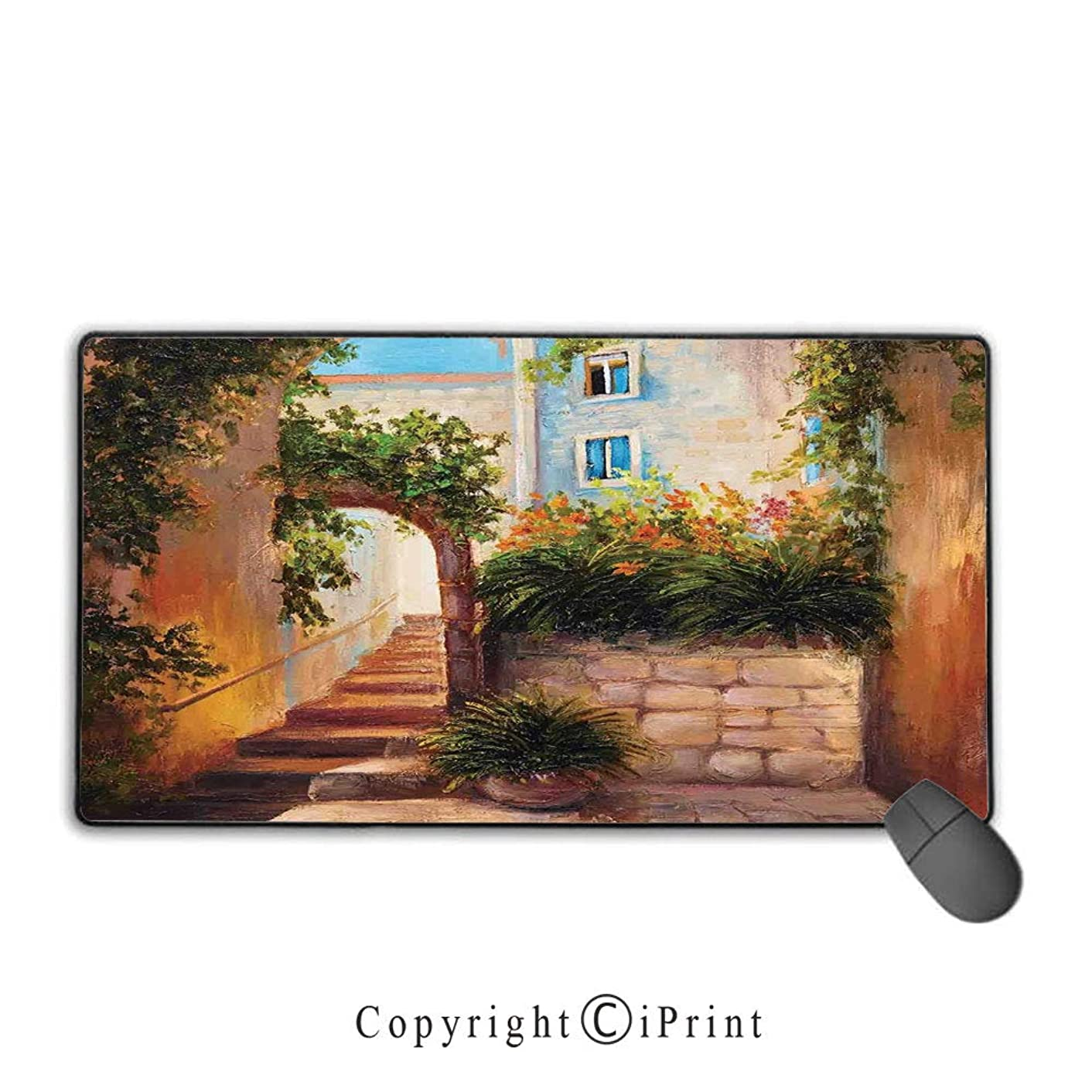 Extended Mousepad with Durable Stitched Edges,Rustic,Stone Street Gate in an Old Town with Blooming Flowers Oil Painting,Dark Orange Dark Green, Suitable for Offices and Homes,15.8