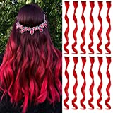 MEckily 12 Pcs Colored Hair Extensions Party Highlights, Curly Wavy Hairpiece Clip in Synthetic Streak for Kids Girls Women 17 inch(Red)