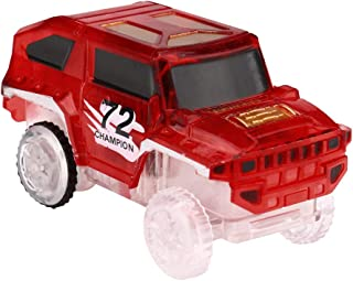 Wenini Flashing Music Car - Electronics Special Car for Magic Track Toys with Flashing Lights Educational (Red)