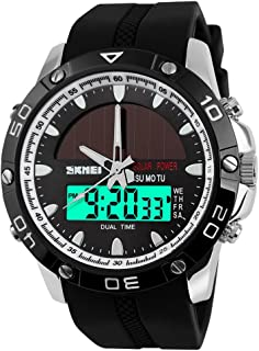 SKMEI Mens Solar Power Military Dual Time Zones Slide Rule Silicone Band Sports Wrist Watch