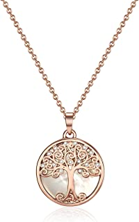 Mestige Women Rose Gold Willow Tree of Life Necklace with Swarovski Crystals, Glass - MSNE3545
