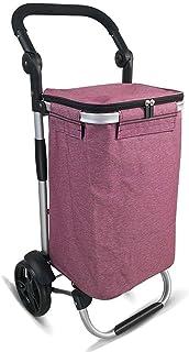 LQBDJPYS Lightweight Shopping Trolley 40L Large-Capacity Trailer Foldable Aluminum Alloy Luggage Cart 7-inch Bearing Wheel...