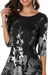 e0c5b775594d KINTRADE Mujeres Tallas Grandes, Media Manga, Camiseta Delgada, Estampado  Floral de Color Vintage