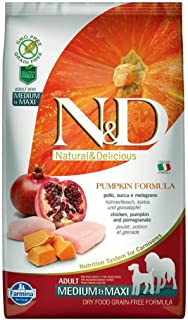 Farmina Natural & Delicious Grain-Free Chicken, Pumpkin and Pomegranate Dry Medium and Maxi Breed Dog Food 5.5 Pounds