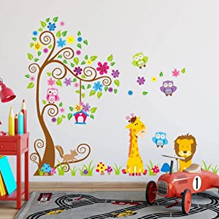 Large Size Trees Animals 3D DIY Colorful Owl Wall Stickers Wall Decals Adhesive for Kids Baby Room Mural Home Decor Wallpaper