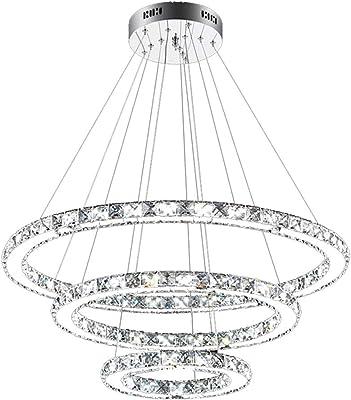 SAILUN® 73W 3 anillos Lámpara Colgante LED de Cristal Araña Moderna Lámpara Colgante Lámpara de Techo Blanco Cálido Iluminación Interior para comedor dormitorio salón (73W Regulable)