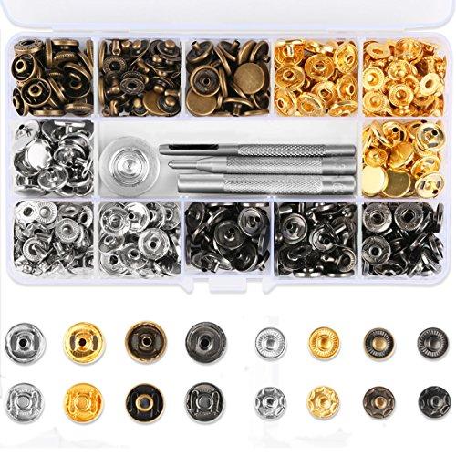 Vanble レザークラフト 工具 4種類 & ホック 4色 詰め合わせ ケース付 カシメセット 12mm ホック打ち工具 パーツ DIY 手作り ハンドメイド 120組
