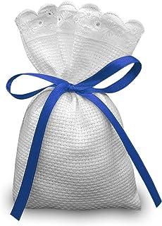 Crociedelizie, Stock 40 sacchetti bomboniere portaconfetti segnaposto in tela aida rifinitura in pizzo sangallo da ricamar...