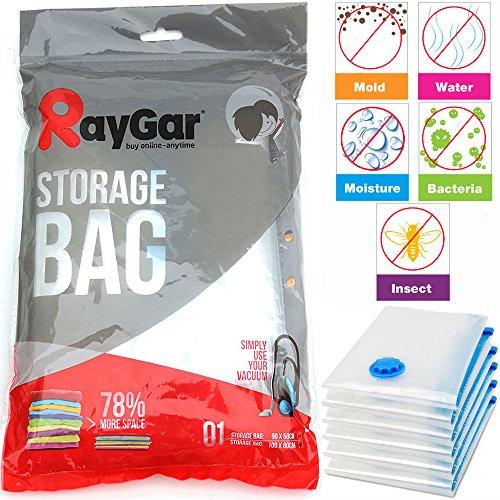 RayGar® - Bolsa de Almacenamiento Comprimido al Vacío para Ahorro de Espacio, 6 Unidades de 100 X 80 cm para Vestuario, Edredones, Ropa de Cama, Almohadas, Cortinas