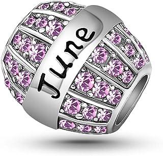 KunBead January-December Birthstone Birthday Crystal Love Charms for Bracelets Women Girls Christmas Valentine Mother's Da...