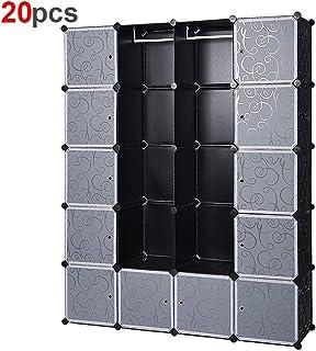GTON 20 cubi Armadio Portatile per Appendere i Vestiti Asta Fai da Te Guardaroba Stanzino Combinato Scarpiera Salvaspazio Appendiabiti Portaoggetti stanzino Combinato