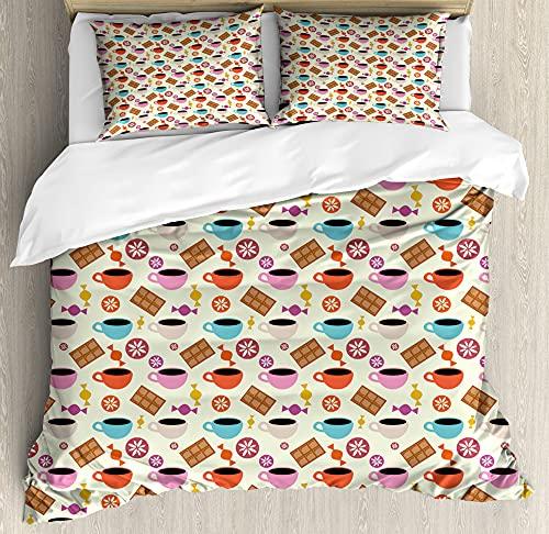 ABAKUHAUS café Funda Nórdica, Caramelo Colorido Motivos, Decorativo 2 Piezas con 1 Funda de Almohada, 130 x 200 cm - 70 x 50 cm, Verde en Colores Pastel Multicolor