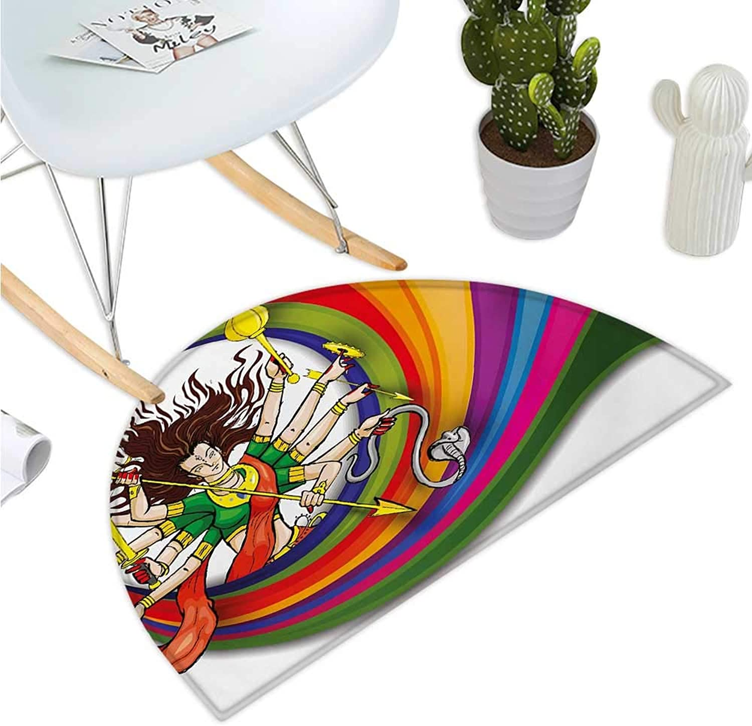 Ethnic Semicircle Doormat Figure Vibrant Swirled Rainbow Circle Snake and Auspicious Cultural Illustration Halfmoon doormats H 43.3  xD 64.9  Multicolor