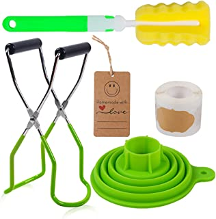 Canning Set, Canning Jar Lifter with Grip Handle, Silicone Collapsible Wide Mouth Funnel (Green)