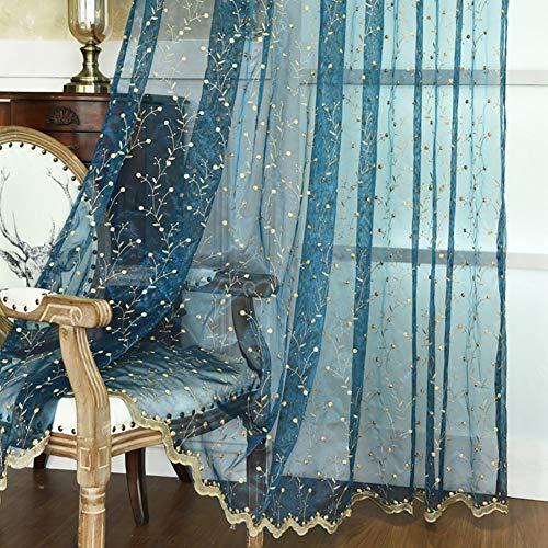 HM&DX Bestickt Voile Gardinen Mit ösen, 1 Stück Luxuriös Dekoration Fenster Vorhang Balkontür Wohnzimmer Schlafzimmer-türkis 200x250cm(79x98inch)