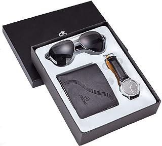 Moshbu - Set regalo da uomo con orologio + portafoglio + occhiali da sole Creative Set con scatola regalo uomo marrone chi...