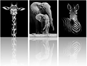 Visual Art Decor XXLarge Modern Black and White Canvas Wall Art Animals Picture Prints Elephant Zebra Giraffe Image Poster on Canvas Framed and Stretched Decoration
