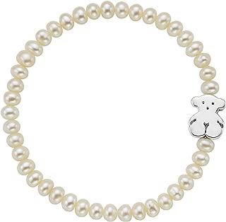 Pulsera Sweet Dolls, elástica ajustable mujer, Perlas cultivadas y plata de primera Ley, Largo: 19 cm