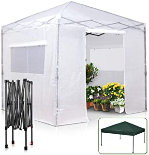 EAGLE PEAK 8' x 8' Portable Walk-in Greenhouse and Canopy Tent, Instant Pop-up Fast Setup Indoor Outdoor Plant Gardening G...
