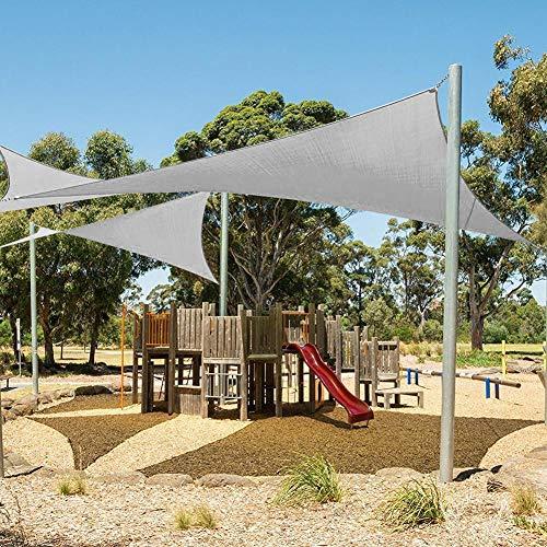 YHNHT Toldo de vela para el sol, 3 x 3 m, triángulo gris, toldo para cubierta, garaje, piscina, jardín, patio al aire libre, cochera