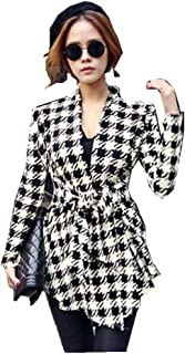 Baomabao Womens Thin Cardigan Coat Houndstooth Pattern Jacket Outwear