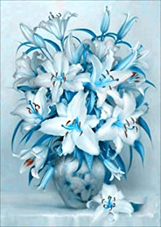 Blue Lily Vase Diamond Painting Kits - PigPigBoss 5D Full Round Drill Diamond Painting by Numbers - Diamond Embroidery Dot...