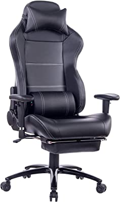 HEALGEN Back Massage Gaming Chair with Footrest,PC Computer Video Game Racing Gamer Chair High Back Reclining Executive Ergonomic Desk Office Chair with Headrest Lumbar Support Cushion (263Black)