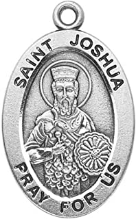 HMH Patron Saint St Joshua Medal 7/8 Inch Sterling Silver Pendant