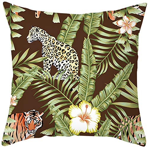 Bishilin Decorativas De Funda Poliéster 16x16 Inch Hojas de Flores de Tigre y Leopardo Cuadrado Fundas de Cojín para sofá sofá Oficina en casa Estilo 40 Verde Negro (Solo Portada, sin Inserto)
