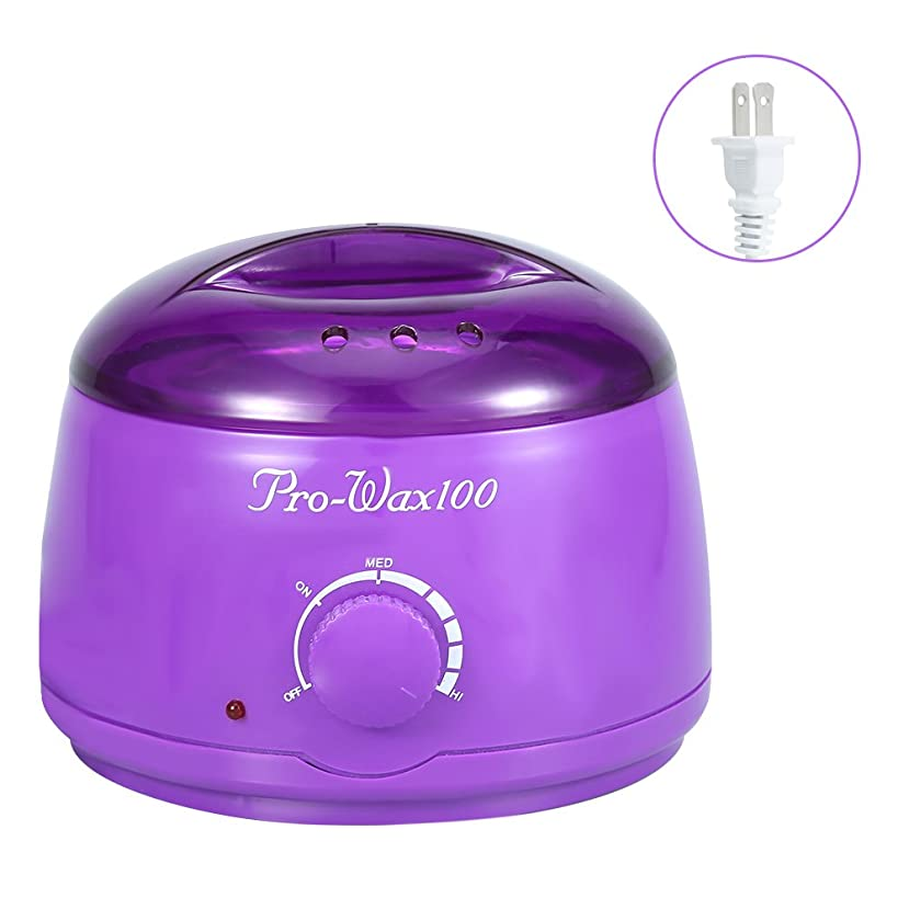 荷物炭水化物ナビゲーションワックス脱毛ワックスヒーター+ 4 x 100g異なるワックス豆+ 10個ワックススティックプロフェッショナルワックス脱毛セット(紫色)