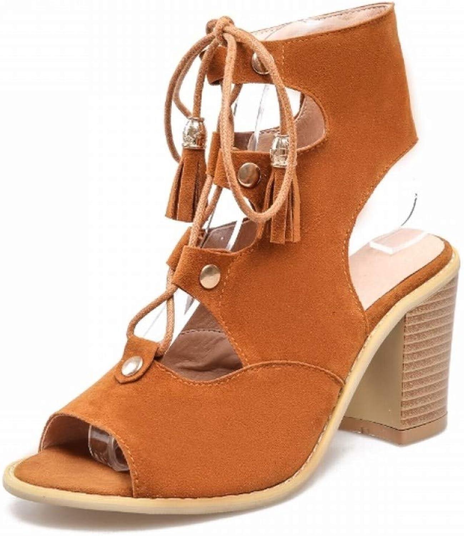MEIZOKEN Women's Tassel Stacked Block Heel Gladiator Sandal Peep Toe Lace Up shoes Cutout Chunky High Heel Sandals