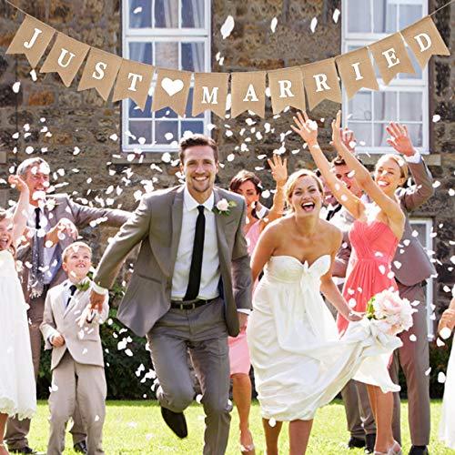 Vintage leinen Just Married Girlande Banner Sackleinen Hochzeit Banner Herz Muster Romantische Hochzeit Dekoration für Hochzeit Brautdusche Wimpelkette Wedding Bunting