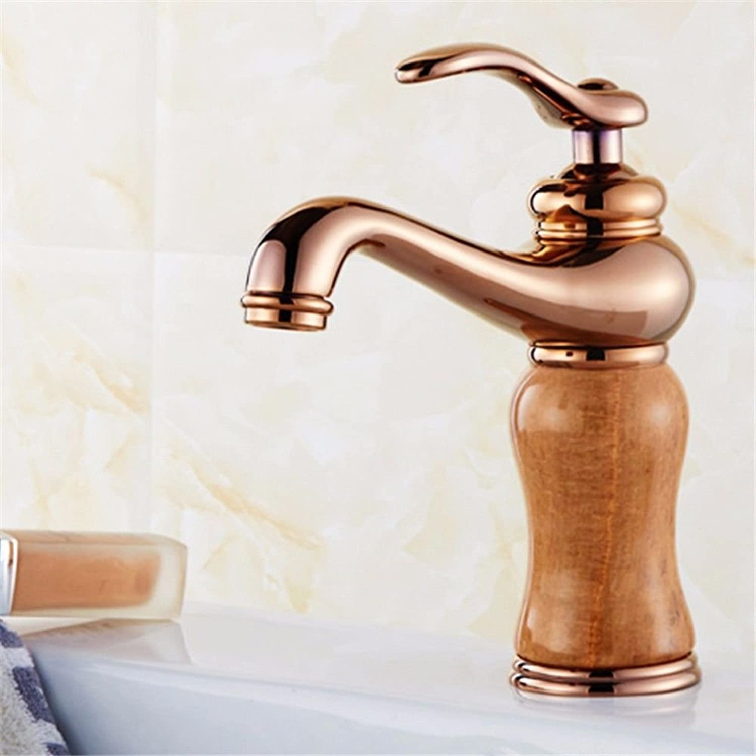 Hlluya Professional Sink Mixer Tap Kitchen Faucet Bathroom Cabinets full copper to redate the faucet sink hot and cold jade kitchen sink, pink gold