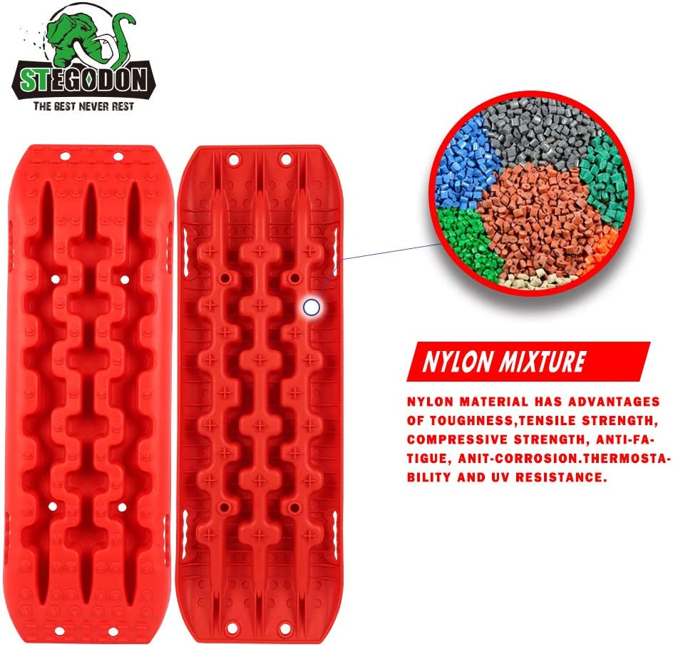Set of 2 Recovery Traction Mats Sand Snow Mud Track Off Road Tire Ladder 4WD(Red-Slim) STEGODON New Recovery Traction Tracks Slim