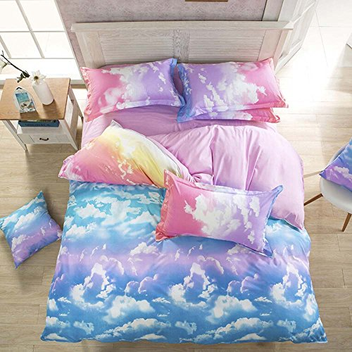 Mengersi Cloud Sky Duvet Cover Set Rainbow Reversible Bedding Comforter Cover for Girls Kids Adults(King,Pink and SkyBlue)