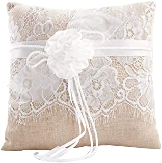 Awtlife Lace Wedding Ring Pillow, Flower Ring Bearer Pillow,8.26 Inch for Wedding Ceremony