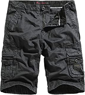 Men's Cargo Shorts Cotton Twill Relaxed Fit Multi Pocket Cargo Short Pants