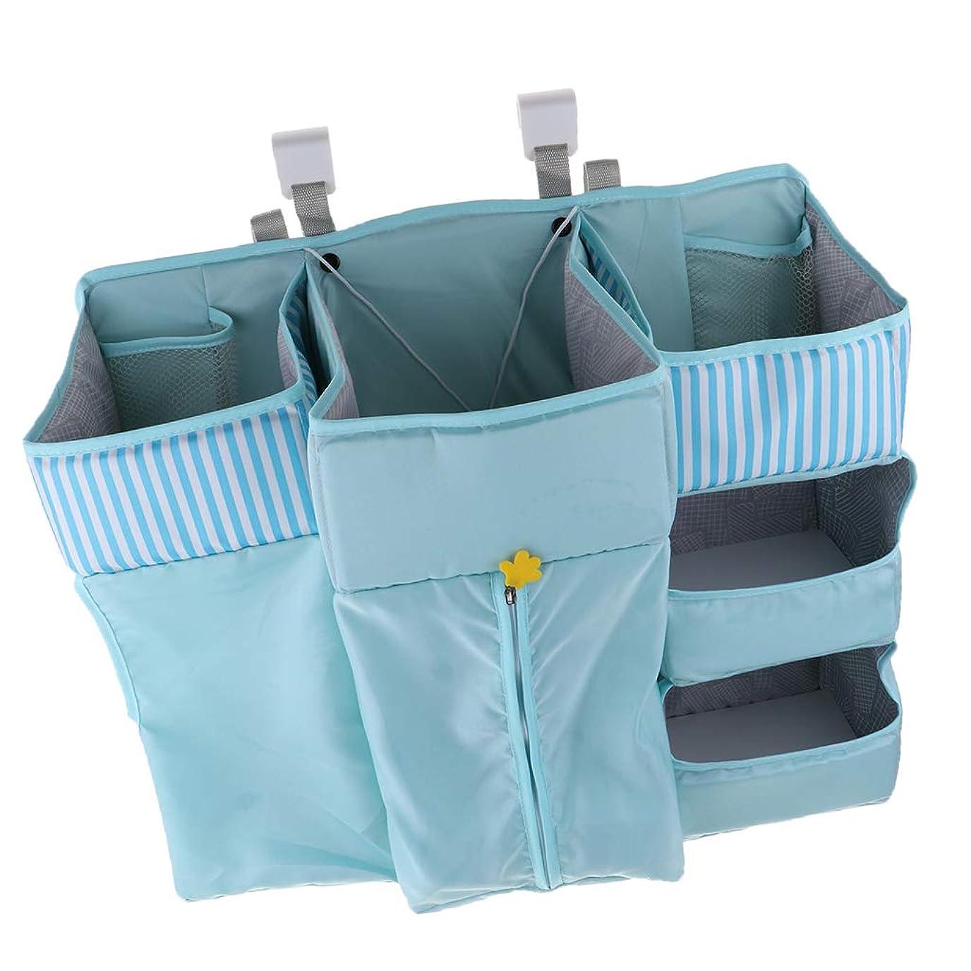宙返り逆さまに継続中B Blesiya 全3色 ベッド吊り下げ収納 赤ちゃん ベビーベッドルーム用 ぶら下げ収納袋 オーガナイザー - ブルー