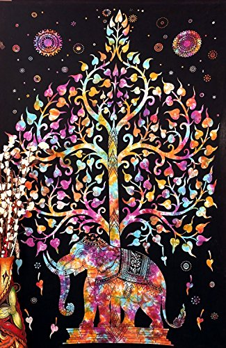 Tree Elephant Multi tapestry Indian tapestry Hippy tapestry (210x140cms) by Craftozone