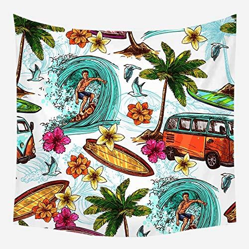Tapiz de playa de mar árbol de coco alfombra colgante de pared estrella de mar manta de pared de playa decoración del hogar tela de fondo A18 130x150cm
