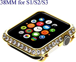 Bling Bling Sparkling Diamond Crystal Watch Bezel Cover Case for Apple Watch iWatch S1/S2/S3 Sports & Edition Version Smaller Size 38MM (Non Ceramics) (Gold Diamond)