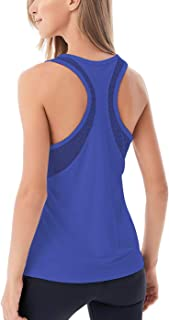 Women's Yoga Tops Open Back Mesh Breathable Workout Tops for Womens Pilates Tops Racerback Running Tank Tops