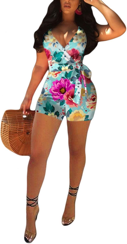 Akmipoem Women's Sleeveless Romper Wrap Front V Neck Solid Shorts Jumpsuit with Belt