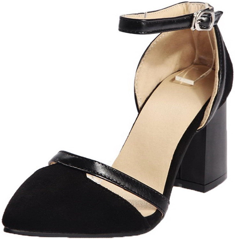 AmoonyFashion Women's Buckle Kitten-Heels Blend Materials Sandals, BUSLS005130