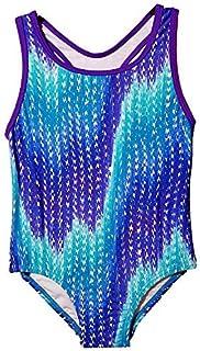 Speedo Big Girls' Solid Infinity Splice One Piece Swimsuit (14 Blue Zig Zag) [並行輸入品]